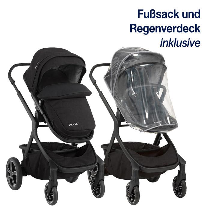 Fußsack und Regenverdeck gehören zum Lieferumfang des Nuna Kinderwagen