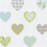 P+S International Happy Kids 05583-30 Tapete Muster Herzen weiß grün blau