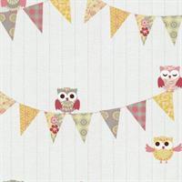 P+S International Happy Kids 05585-40 Tapete Muster Eule Eulen weiß gelb rosa grau