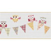 P+S International Happy Kids 05586-40 Tapete Borte Bordüre Eule Eulen weiß gelb rosa grau