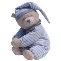 Babiage Doodoo Plush Baer Sleep Aid for Babys Stripes Grey