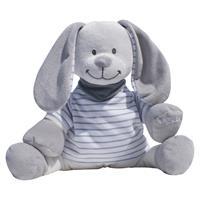 Babiage Doodoo Hase Plüschtier Einschlafhilfe für Babys Streifen Grau