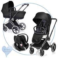 Cybex PRIAM Kombikinderwagen mit Babyschale Aton Q Plus Black Beauty