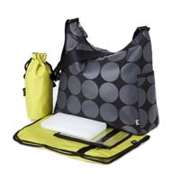 OiOi Hobo Designer Wickeltasche charcoal dot lime