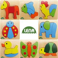 LENA Holzpuzzle Tiere