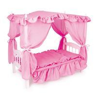Legler Himmelbett für Puppen in Pink aus Holz