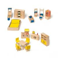 Legler - doll's furniture with kitchen, Wood, colorful