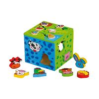 Legler - Motor function cubes 2 in 1, colorfully painted and child-friendly designs