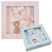 Nattou Rosy & Emil Set Lätzchen + Mini Tier + Socken