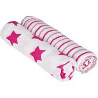 Lässig 4Kids XL Einschlag- und Mulltuch 120x120, 2er Set Stars & Stripes Girls