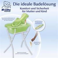 rotho TOP Pflegeset 5 teilig mit Babybadewanne, Badewanneneinsatz und Badewannenständer - lindgrün