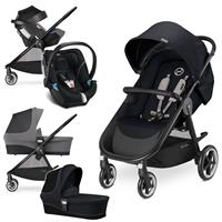 Cybex Agis M-Air 4 Trio Set mit Kinderwagen Wanne Babyschale 2017 Stardust Black