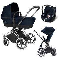 Cybex Priam Trio Set Kinderwagen mit Tragewanne Lux Sitz & Babyschale Aton Q 2017 Midnight Blue