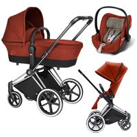 Cybex Priam Trio Set Kinderwagen mit Tragewanne Lux Sitz & Babyschale Cloud Q 2017 Autumn Gold