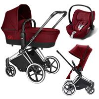 Cybex Priam Trio Set Kinderwagen mit Tragewanne Lux Sitz & Babyschale Cloud Q 2017 Infra Red