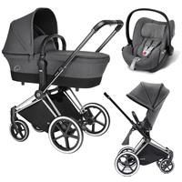 Cybex Priam Trio Set Kinderwagen mit Tragewanne Lux Sitz & Babyschale Cloud Q 2017 Manhattan Grey