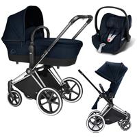 Cybex Priam Trio Set Kinderwagen mit Tragewanne Lux Sitz & Babyschale Cloud Q 2017 Midnight Blue