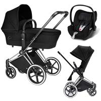 Cybex Priam Trio Set Kinderwagen mit Tragewanne Lux Sitz & Babyschale Cloud Q 2017 Stardust Black