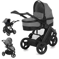 hauck Maxan 3 Plus Trio Set 2017 Stroller incl. Carrycot & Baby carseat 0+ Melange stone