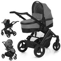 hauck Maxan 4 Plus Trio Set 2017 Stroller incl. Carrycot & Baby carseat 0+ Melange stone