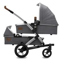 Joolz Geo Studio TWIN Gris Zwillingskinderwagen mit zwei Wannen & Sitzen