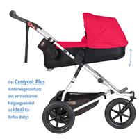 MountainBuggy Carrycot Plus Babywanne Urban Jungle chilli Neigungswinkel der Liegeflaeche veraenderb