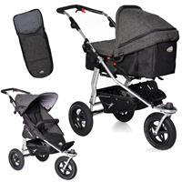 TFK Joggster Adventure Kinderwagen mit MultiX 2in1 Tragewanne & Sportsitz Fußsack Premium Anthrazit