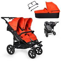TFK Twin Trail Geschwisterwagen mit 1x DuoX & Adapter 385 Orange.com