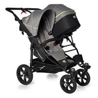 TFK Twin Trail Geschwisterwagen mit 1x DuoX & Adapter 315 Quiet Shade