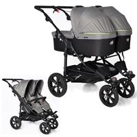 TFK Twin Trail Zwillingskinderwagen ab Geburt mit 2x Duo X Wanne incl. Adapter 315 Quiet Shade