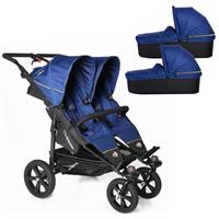 TFK Twin Trail Zwillingskinderwagen ab Geburt mit 2x Duo X Wanne incl. Adapter 333 Twilight Blue