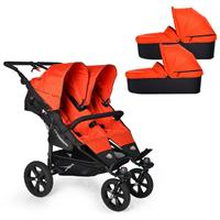 TFK Twin Trail Zwillingskinderwagen ab Geburt mit 2x Duo X Wanne incl. Adapter 385 Orange.com