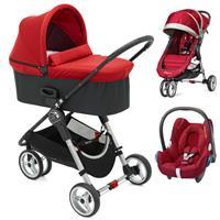 Baby Jogger City Mini 3 Buggy Trio Set mit Deluxe Wanne + Babyschale CabrioFix Crimson
