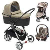 Baby Jogger City Mini 3 Buggy Trio Set mit Deluxe Wanne + Babyschale CabrioFix Sand