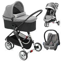 Baby Jogger City Mini 3 Buggy Trio Set mit Deluxe Wanne + Babyschale CabrioFix Steel Gray