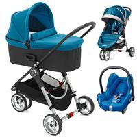 Baby Jogger City Mini 3 Buggy Trio Set mit Deluxe Wanne + Babyschale CabrioFix Teal/Watercolor Blue