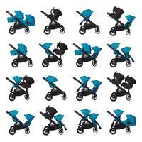 babyjogger city select zwillingswagen mit zwei babywannen 2016 teal moeglichkeiten Auszug 06