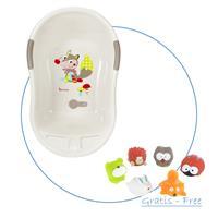 Badabulle Baby-Badewanne Beige inkl. GRATIS Badespielzeug Spritz-Waldtiere