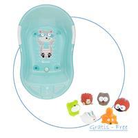 Badabulle Baby-Badewanne Blau inkl. GRATIS Badespielzeug Spritz-Waldtiere
