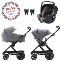 Britax Go Next 2 3in1 Kinderwagen mit Babyschale GRATIS Grey Melange/Black