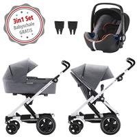 Britax Go Next 2 3in1 Kinderwagen mit Babyschale GRATIS Grey Melange/White