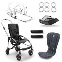 bugaboo bee5 Alu-Steel Blue-Neonrot | Kinderwagengestell mit Style Set