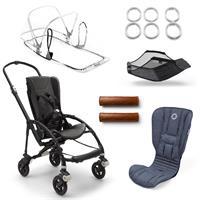 bugaboo bee5 Schwarz-Blau meliert-Sonnengelb | Kinderwagengestell mit Style Set