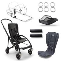 bugaboo bee5 Schwarz-Steel Blue-Neonrot | Kinderwagengestell mit Style Set