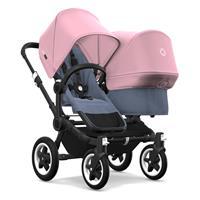 bugaboo Geschwisterwagen Donkey2 Gestell Schwarz Design Blau Meliert / Soft Pink