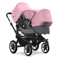 bugaboo Geschwisterwagen Donkey2 Gestell Schwarz Design Grau Meliert / Soft Pink