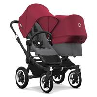 bugaboo donkey2 duo 2019 Siblings stroller side-by-side Black-Grey melange-Rubin red