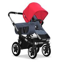 Kinderwagen ab 6 Monate bis 17kg | bugaboo donkey2 mono 2019 Kombikinderwagen Alu/Blau meliert/Neonr