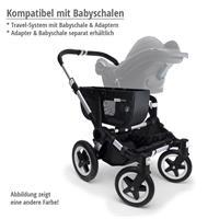 Kompatibel mit Babyschalen | bugaboo donkey2 mono 2019 Kombikinderwagen Alu/Blau meliert/Neonrot