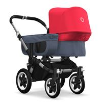 bugaboo donkey2 mono 2019 from birth stroller alu chassis/blue melange/neon red